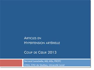 Top 5 des articles en hypertension artérielle 2013