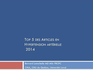 Top 5 des articles en hypertension artérielle 2014