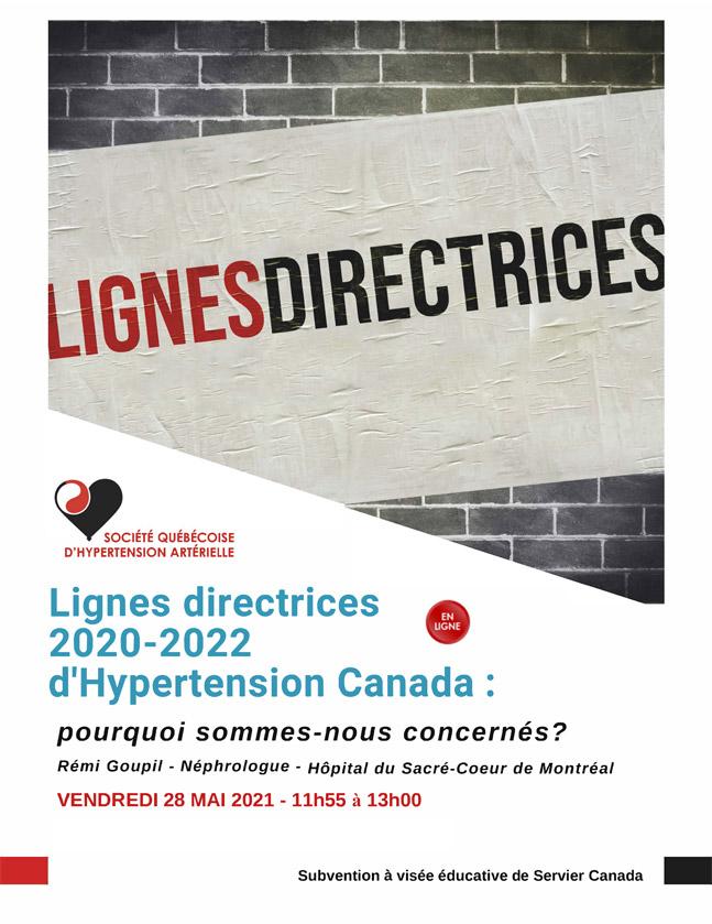 Webinaire clinique Lignes directrices d'hypertension Canada